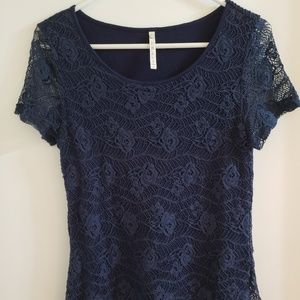 Navy Blue S Lace Top